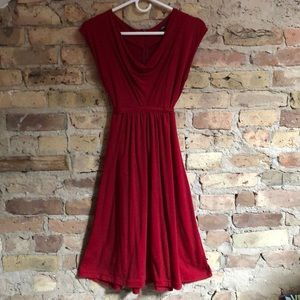 Sultry sexy deep red tie cotton dress